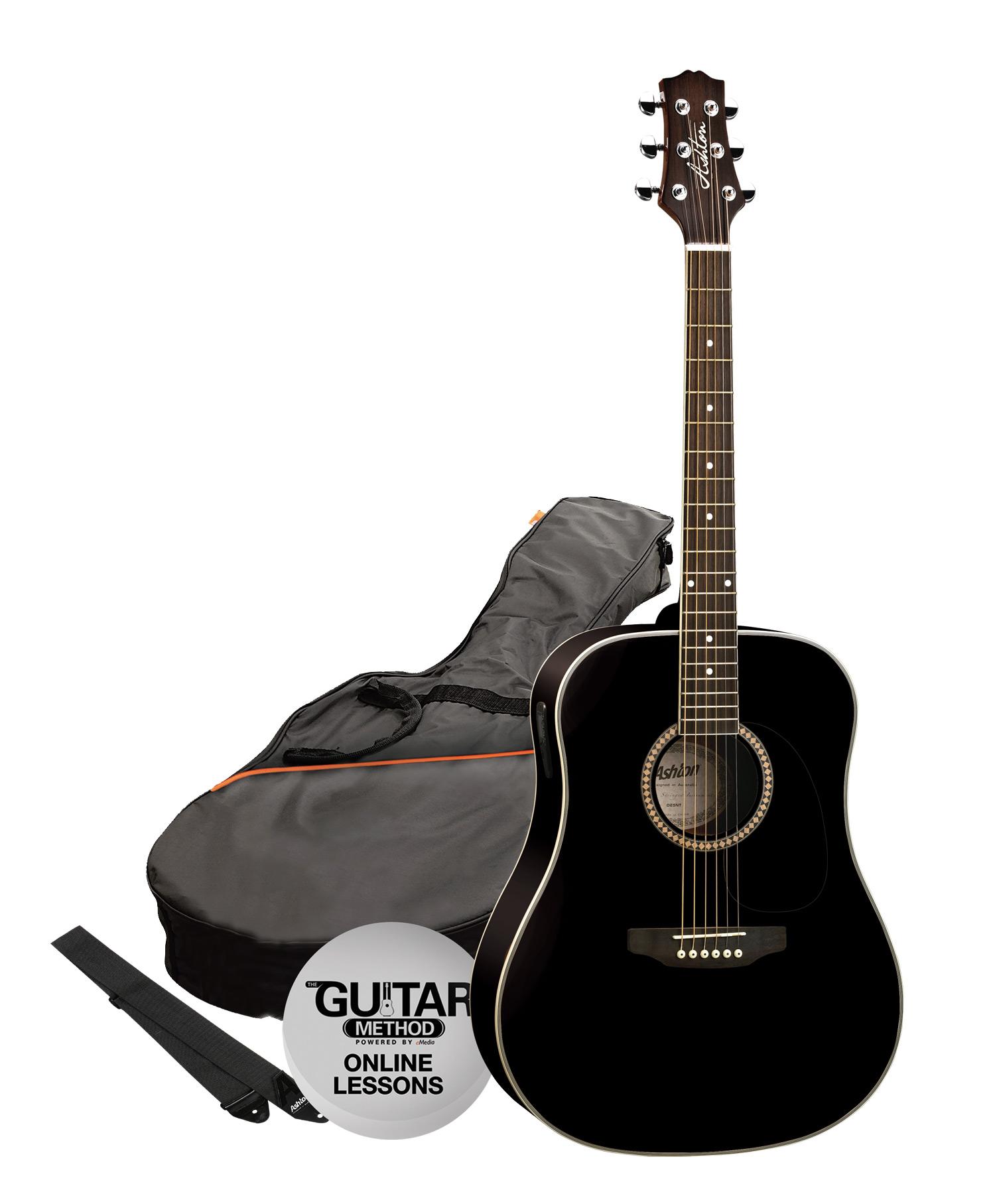 SPD25BK - Pack Guitarra Acustica Dreadnought Negra - Ashton