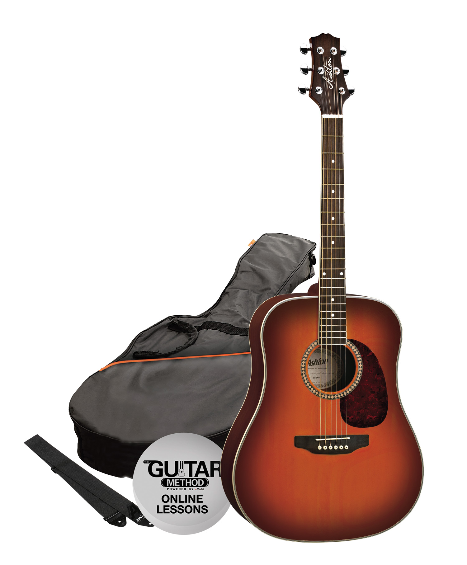 SPD25TSB - Pack Guitarra Acustica Dreadnought Sunburst - Ashton