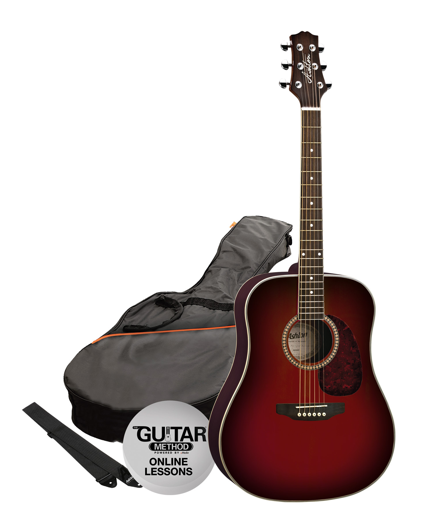 SPD25WRS - Pack Guitarra Acustica Dreadnought Rojo Vino - Ashton