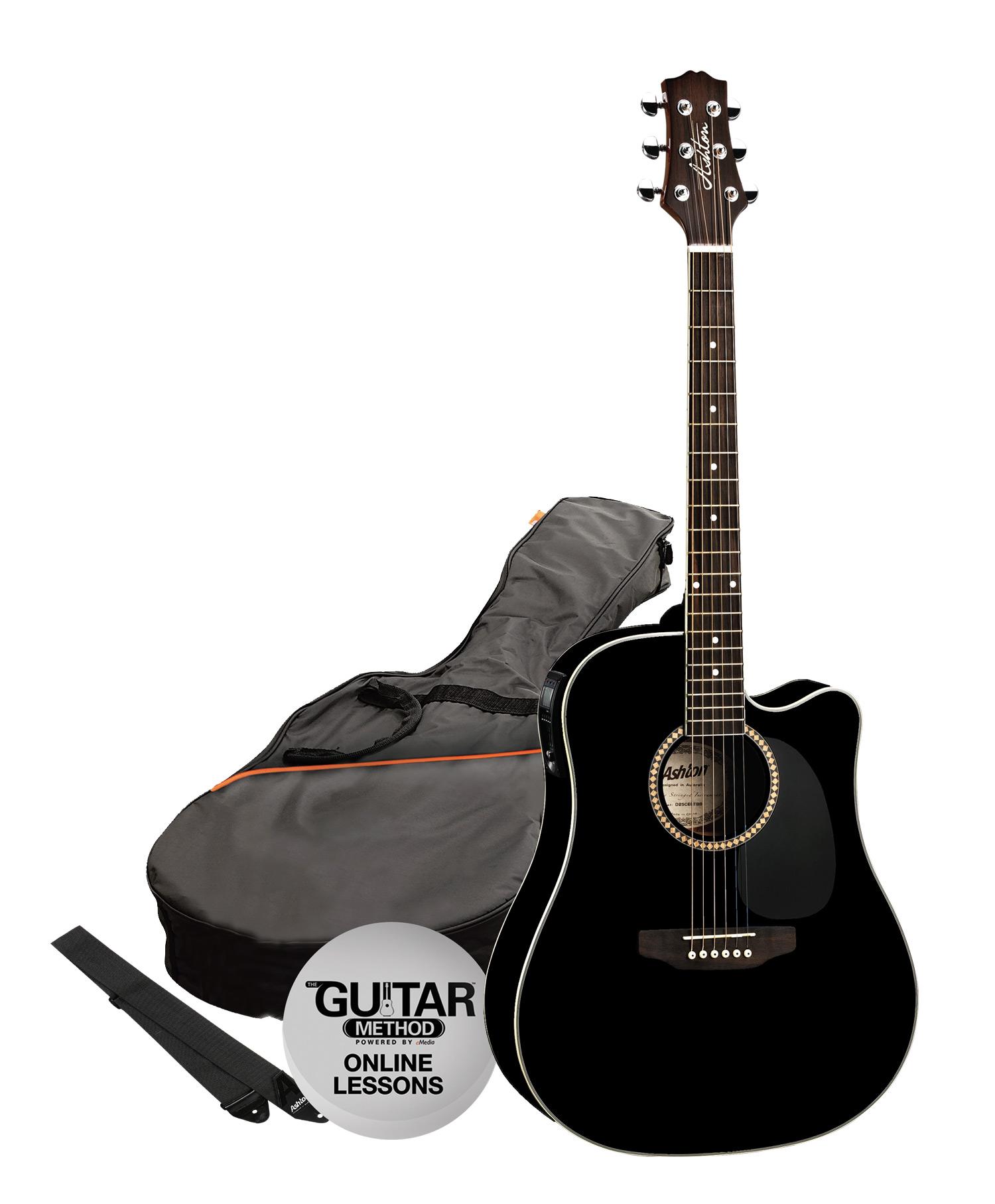 SPD25CEQBK - Pack Guitarra Electroacustica Dreadnought Negra - Ashton