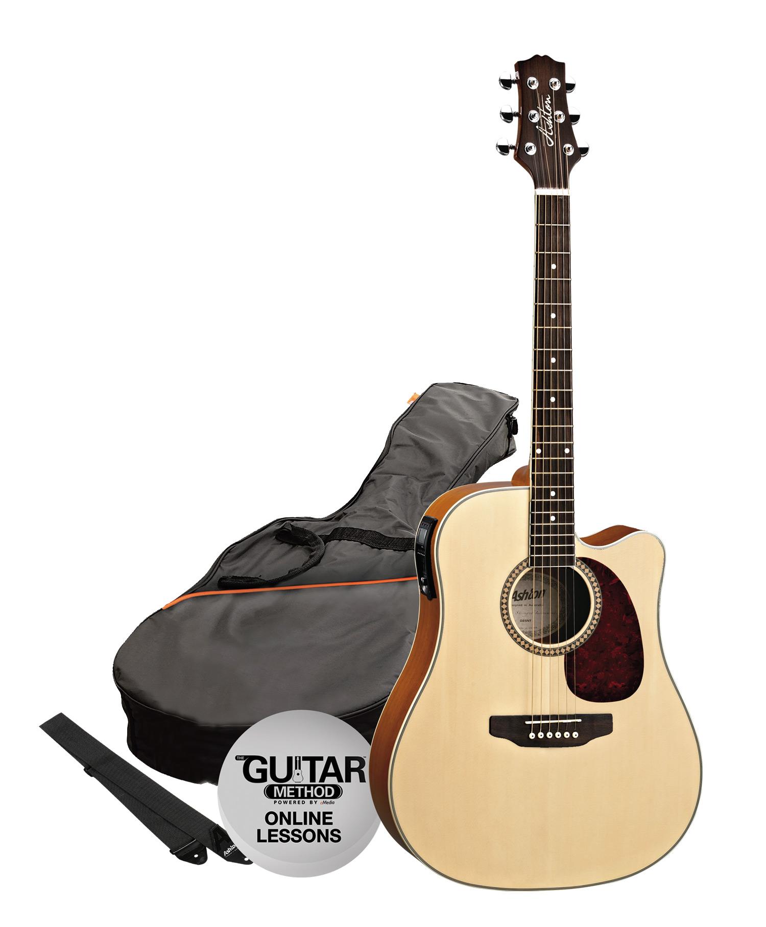 SPD25CEQNT - Pack Guitarra Electroacustica Dreadnought Natural - Ashton
