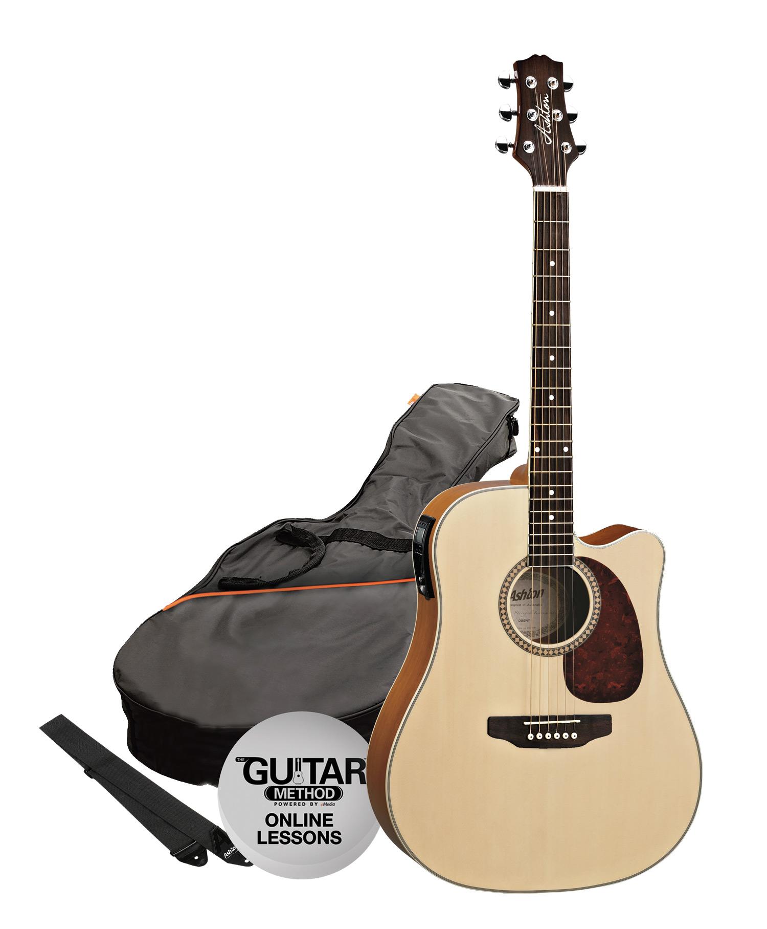 SPD25CEQNTM - Pack Guitarra Electroacustica Dreadnought Natural Mate - Ashton