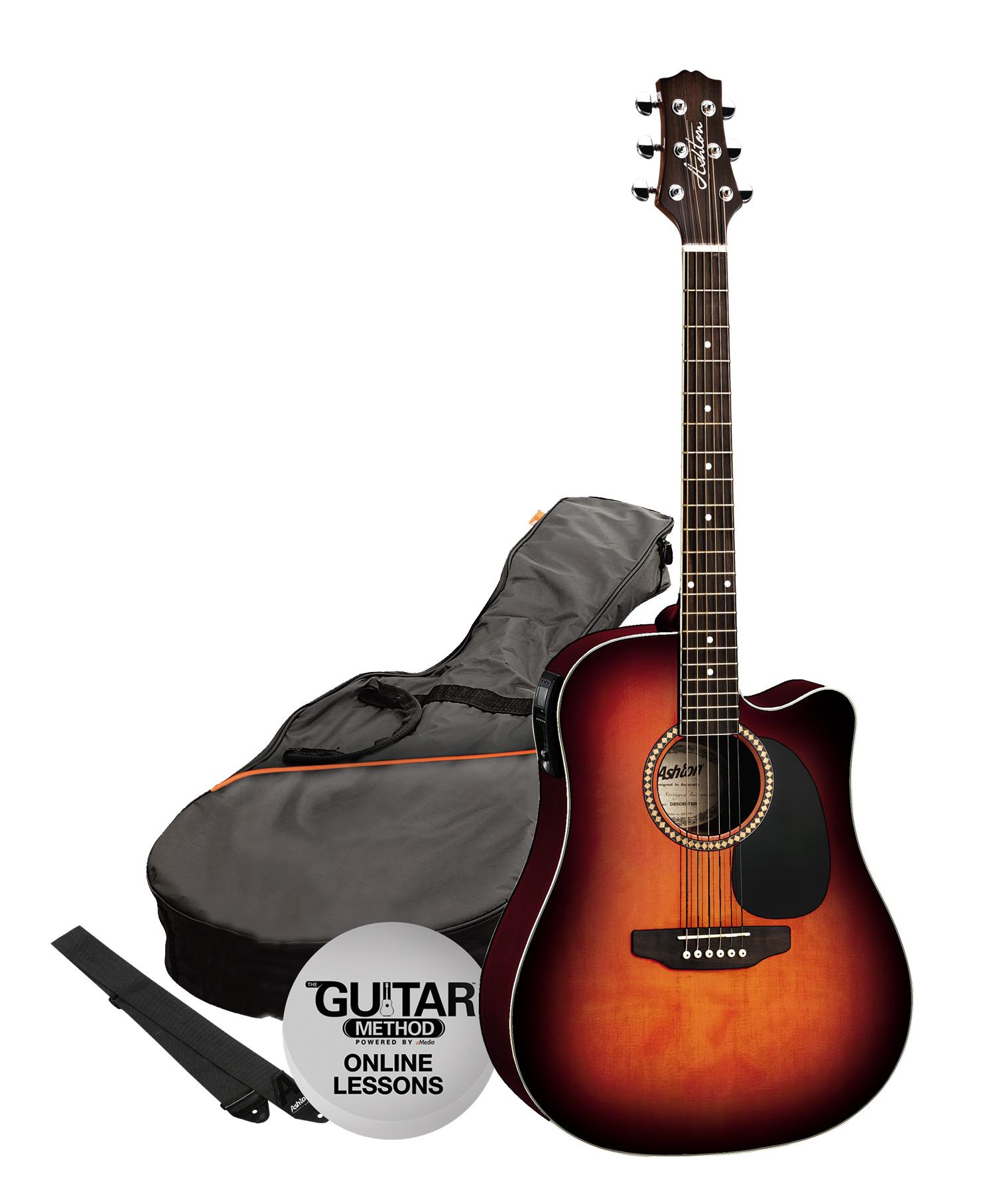 SPD25CEQTSB - Pack Guitarra Electroacustica Dreadnought Tobacco - Ashton