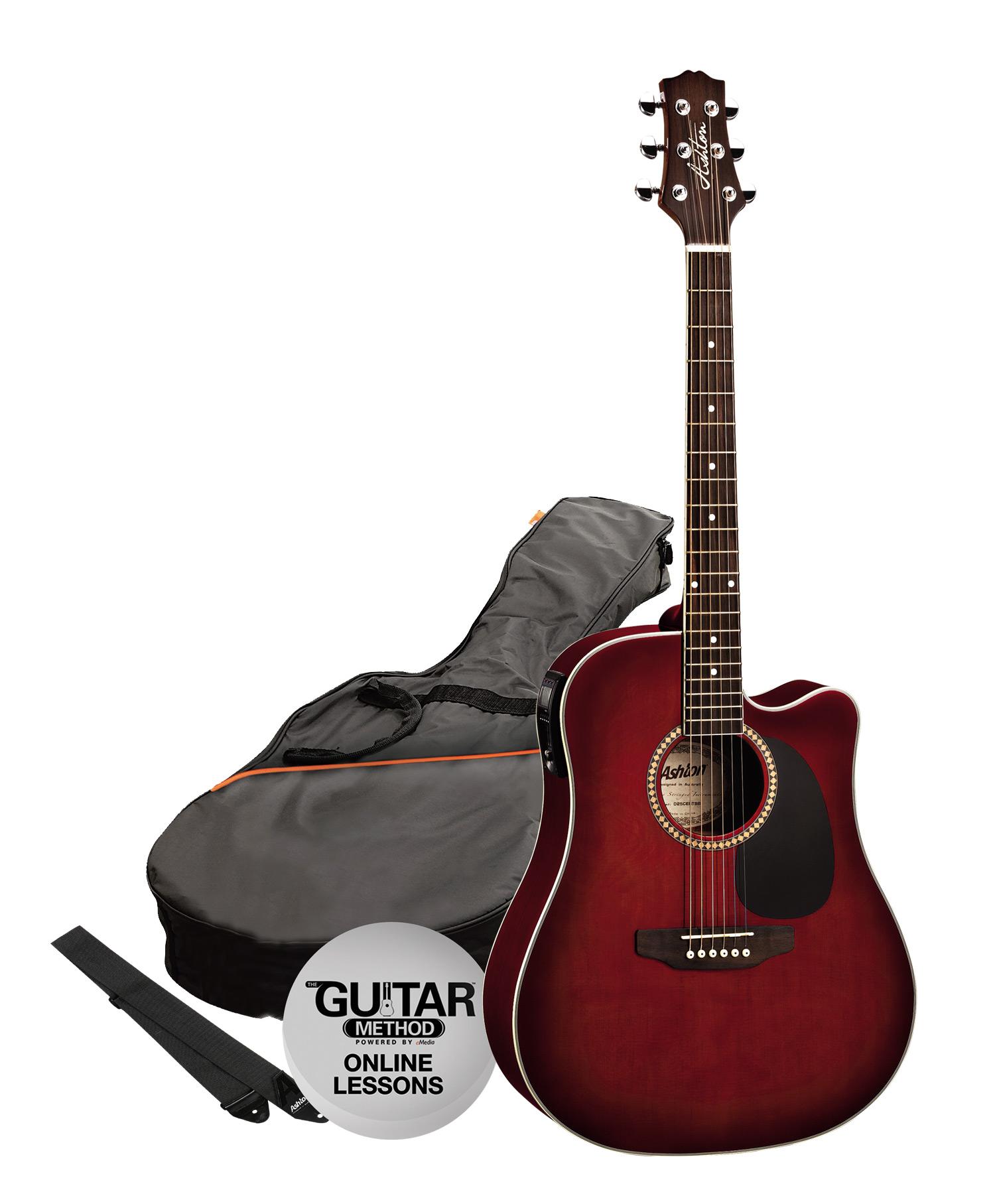 SPD25CEQWRS - Pack Guitarra Electroacustica Dreadnought Vino - Ashton